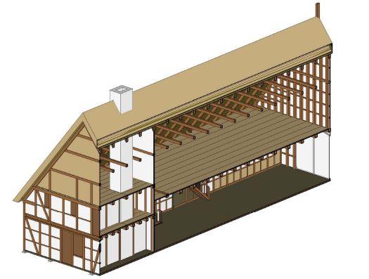 Corte Axonométrico de una Hallenhaus típica. Se pueden distinguir dos áreas: Las de vivienda (a la izquierda), y el establo (a la derecha). Dibujo de Liu Moyan, Moritz Böning and Kristian Polborn Ceppas
